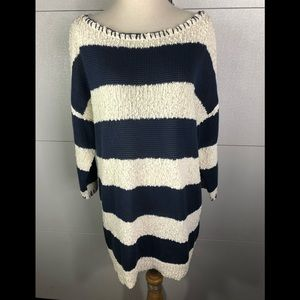 Hinge Blue/white stripe pull/over tunic SZ small